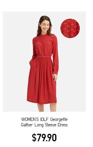 Women's IDLF Georgette Gather Long Sleeve Dress $79.90