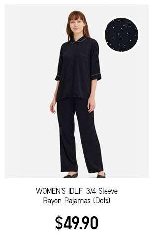 Women's IDLF 3/4 Sleeve Rayon Pajamas Dots E