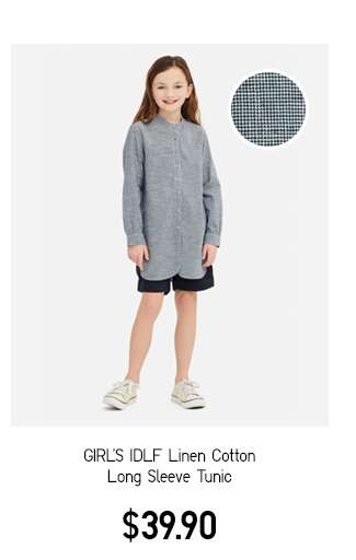 Girl's IDLF Linen Cotton Long Sleeve Tunic C