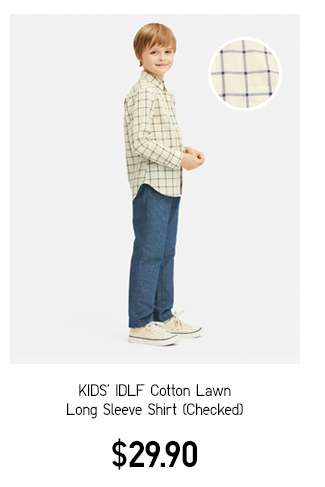 Kids' IDLF Cotton Lawn Long Sleeve Shirt Checked