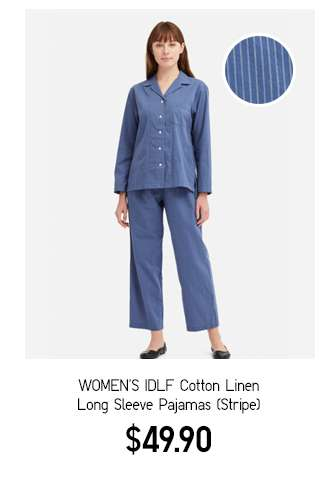 Women's IDLF Cotton Linen Long Sleeve Pajamas Stripe B
