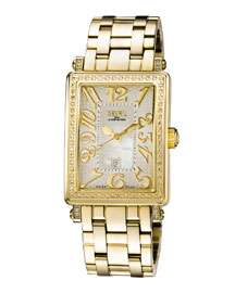 Gevril Swiss Quartz Mezzo Gold tone Diamond Stainless steel Bracelet Watch