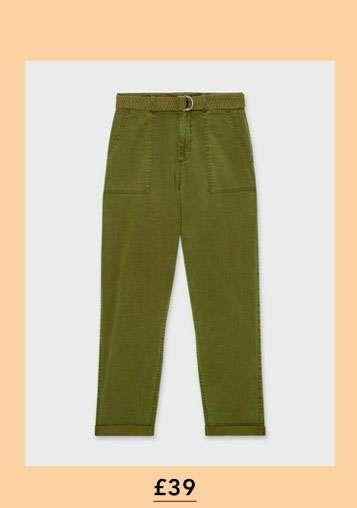 Khaki Belted Utility Trouser