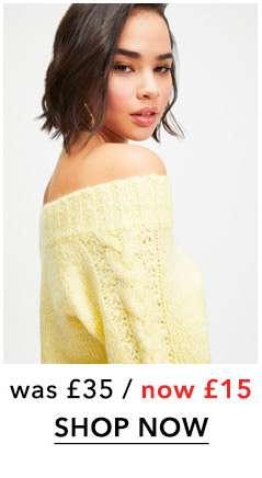 PETITE Pale Yellow Bardot Knitted Jumper