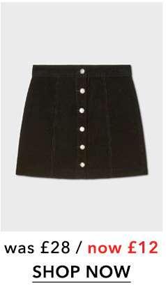 Black Corduroy A-Line Button Through Skirt