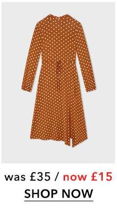 Rust Polka Dot Hanky Hem Midi Dress