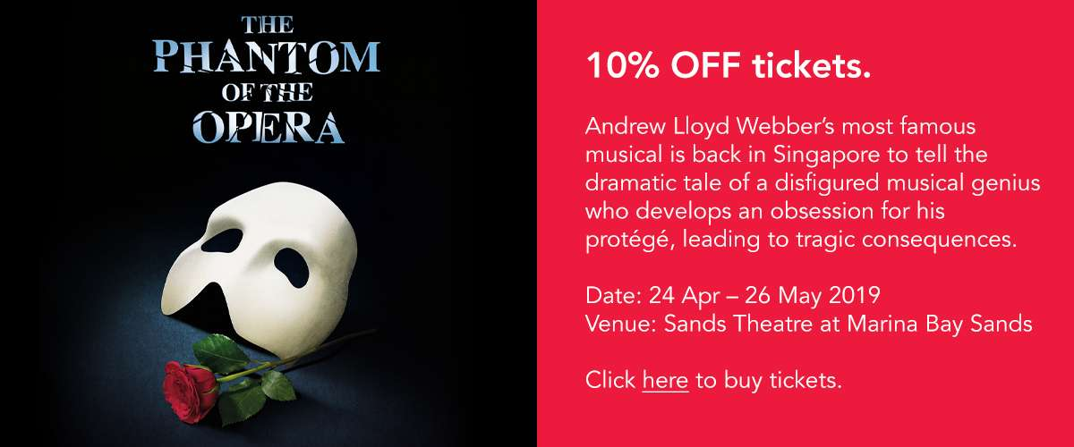 10% off tickets for The Phantom of the Opera musical