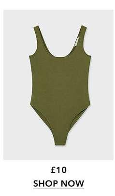 Khaki Sleeveless Scoop Neck Bodysuit