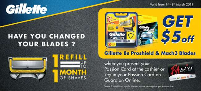 Get $5 off Gillette 8s Proshield & Mach3 Baldes with PA Passion Card