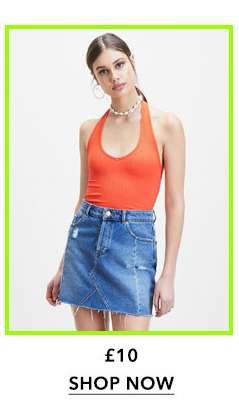 Orange Shiny Rib Halter Neck Top