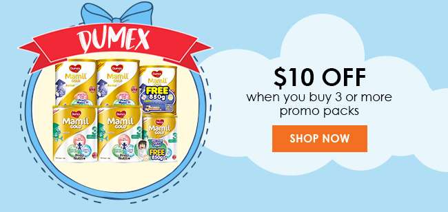Dumex $10 off when you buy 3 or more promo packs