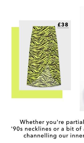 Neon Zebra Print Midi Skirt style