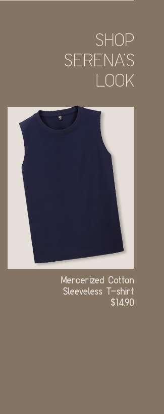 Shop Serena's look: Women's Mercerized Cotton Sleeveless T-shirt at $14.90