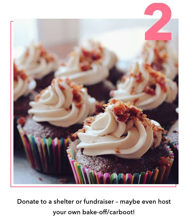 Donate to a shelter fundraiser - maybe even host your own bake-off/carboot!