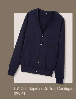 Shop Serena's look: Women's UV Cut Supima Cotton Cardigan at $29.90