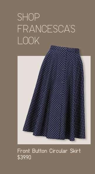 Shop Francesca's look: Women's Front Button Circular Skirt at $39.90