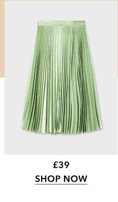 Green Sage Satin Pleated Skirt