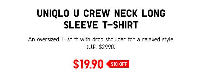 UNIQLO U Crew Neck Long Sleeve T-Shirt | Oversized T-shirt with drop shoulder for a relaxed look.