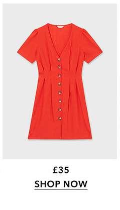 Red Linen Tea Dress