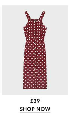 Berry Spot Print Pinafore Dress With Linen