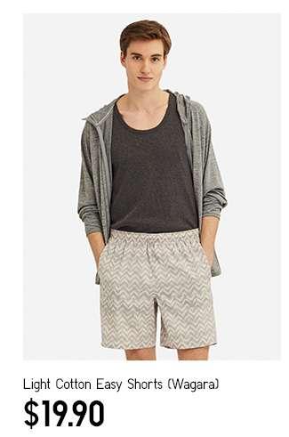 Men's Light Cotton Easy Shorts Wagara at $19.90