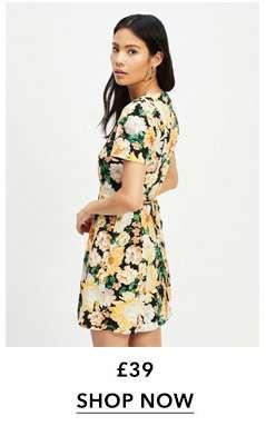 Green Floral Print Pintuck Tea Dress With Linen