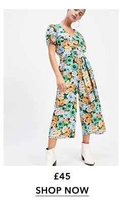 PETITE Green Floral Print Linen Jumpsuit