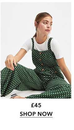 PETITE Green Spotted Pinafore Jumpsuit