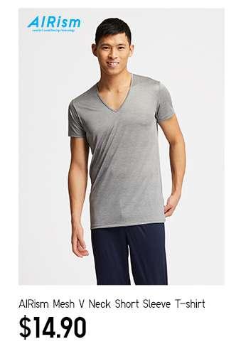 Men's AIRism Mesh V Neck Short Sleeve T-Shirt at $14.90