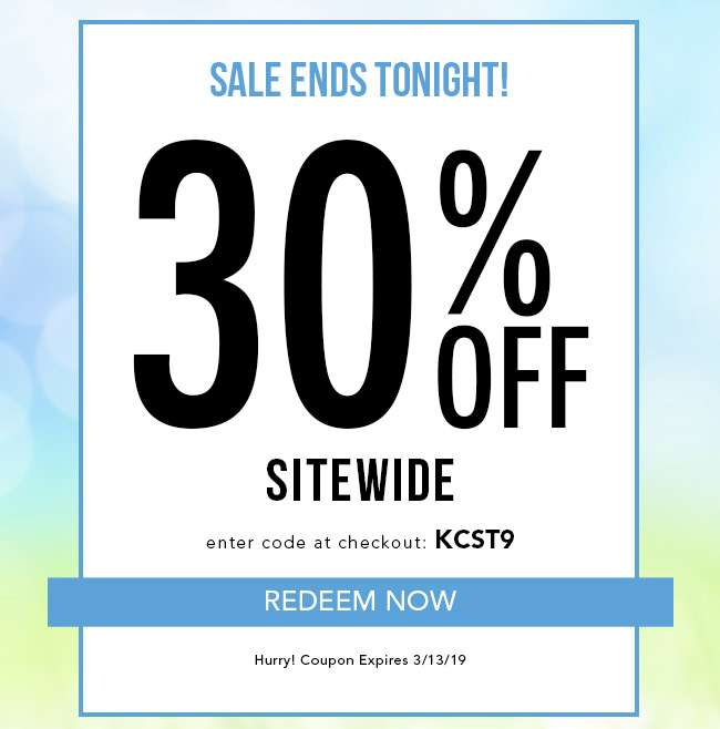 Sale Ends Tonight! 30% Off Sitewide. + Discounts up to 80% Off. Redeem Now. Enter code KCST9 at checkout. Hurry, Coupon expires 3/13/19