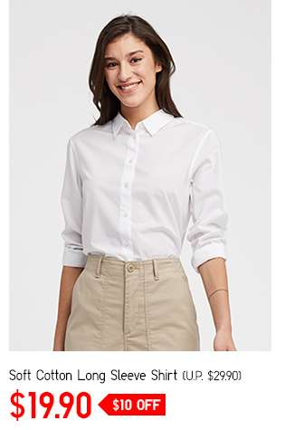 Women's Soft Cotton Long Sleeve Shirt at $19.90