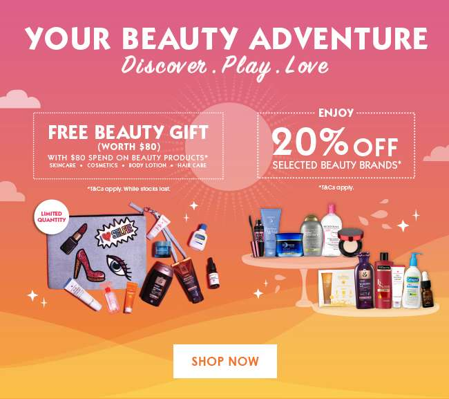 Free Beauty Gift (Worth $80) with $80 Spend on Beauty Products + Enjoy 20% off selected Beauty Brands