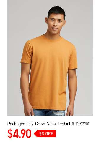 Men's Packaged Crew Neck Short Sleeve T-Shirt at $4.90