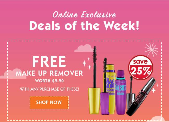 Free Make Up Remover worth $9.90!