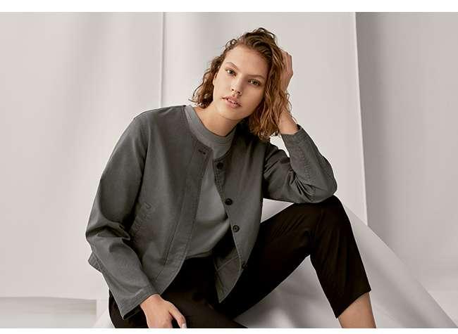 Women's Linen Blend Collarless Jacket at $39.90