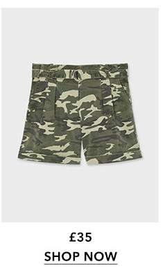 Khaki Camouflage Belted Shorts