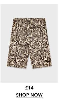 Brown Zebra Print Cycling Shorts