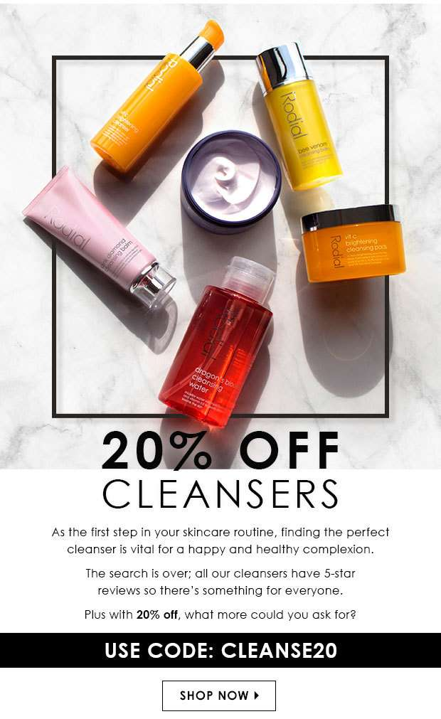 20% Off Cleansers Use Code: CLEANSE20