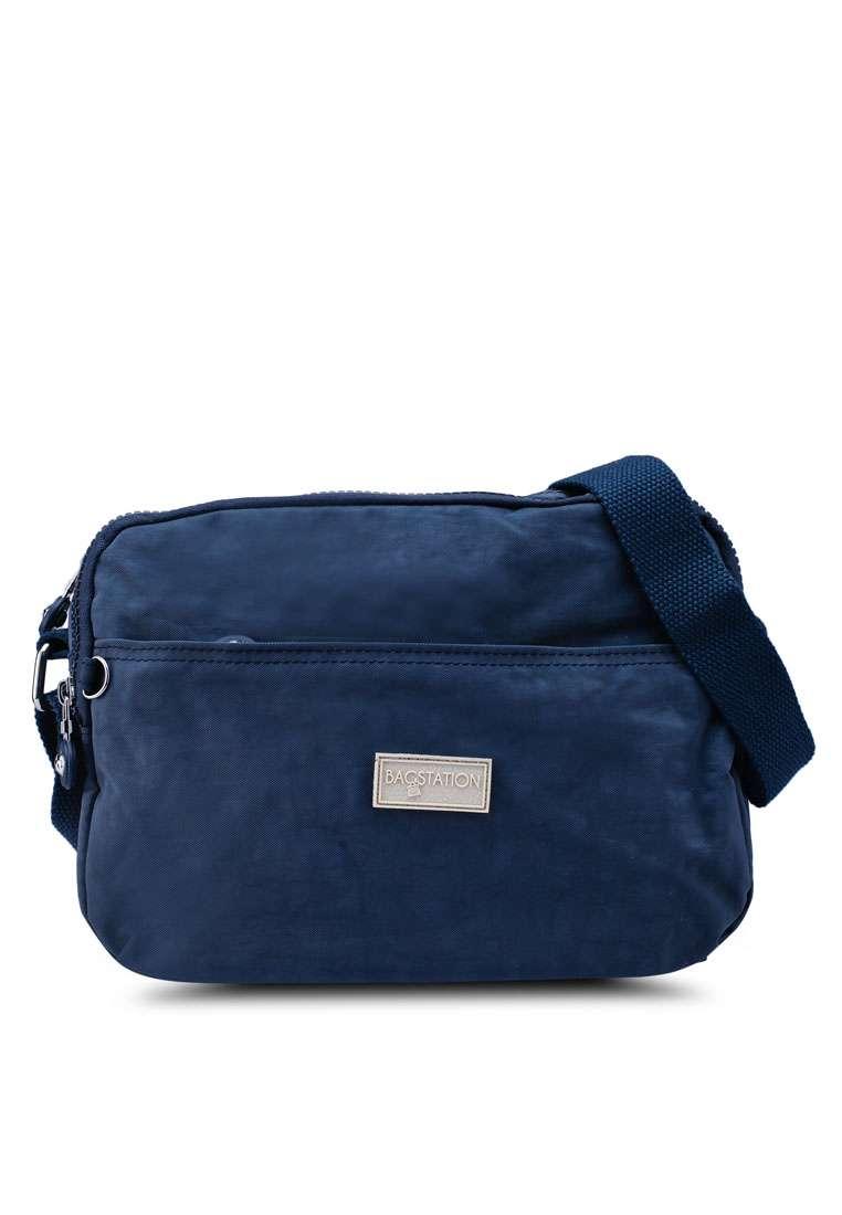 Crinkled Nylon Multi-Compartment Sling Bag