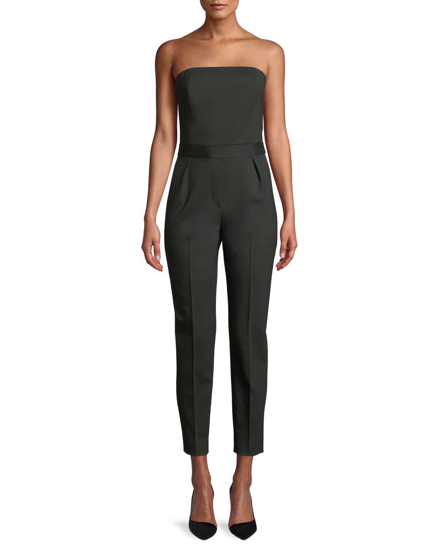 City Strapless Tux Wool Skinny-Leg Jumpsuit