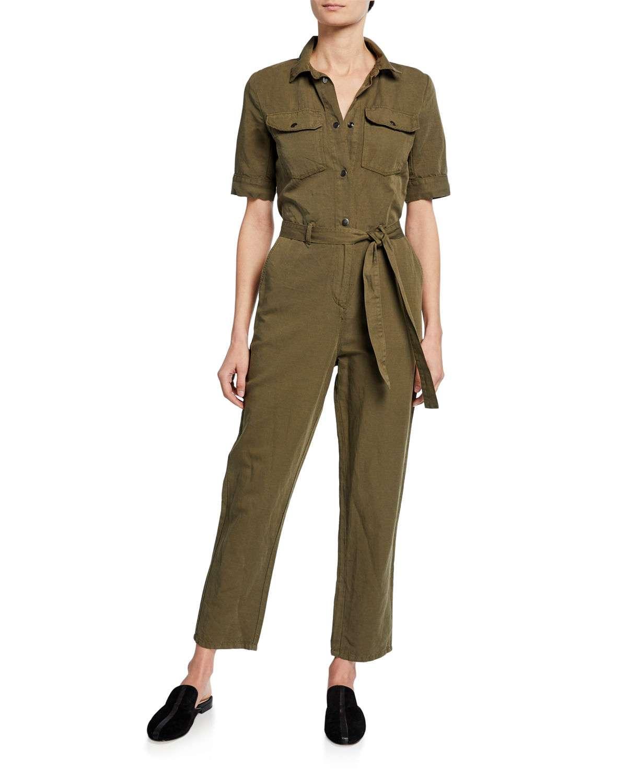 Short-Sleeve Button-Down Belted Straight-Leg Cotton-Linen Jumpsuit