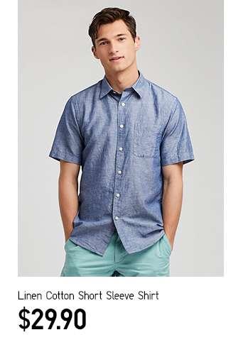 Men's Linen Cotton Short Sleeve Shirt at $29.90