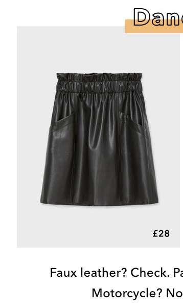 Black PU Paperbag Skirt
