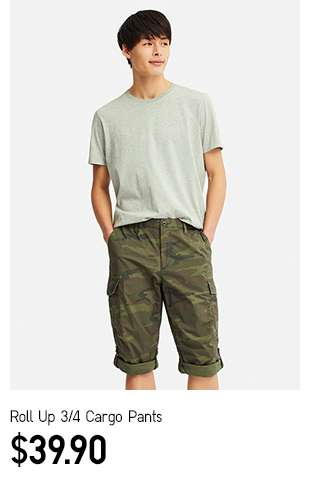 Men's Roll Up 3/4 Cargo Pants at $39.90
