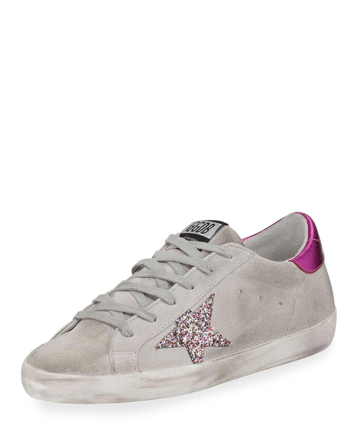 Superstar Suede & Glitter Sneakers