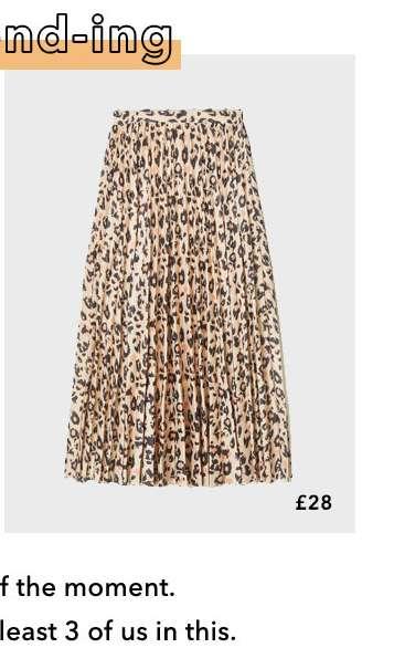 Brown Pleated Leopard Print Midi Skirt