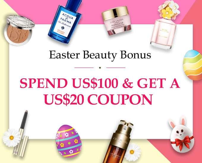 March Beauty Bonus Spend US$100 & Get a US$20 Coupon! Ends 25 Mar 2019