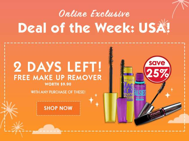2 Days Left: Free Make up Remover worth $9.90 with any purchase of Maybelline Mascara