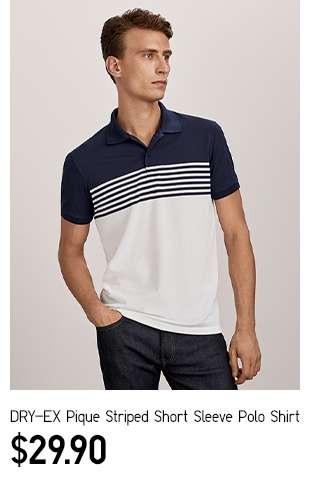 Men's DRY-EX Pique Striped Short Sleeve Polo Shirt at $29.90