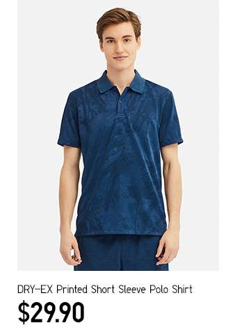 Men's DRY-EX Printed Short Sleeve Polo Shirt at $29.90